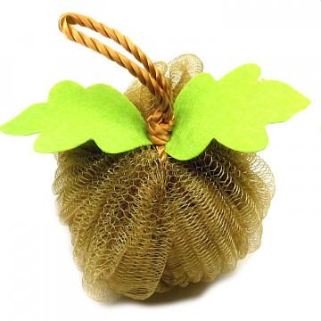 Мочалка 10х10  шар с листочками
